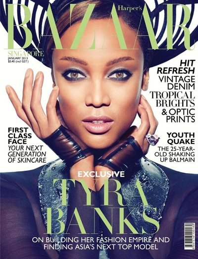 Tyra Banks - Harper's Bazaar Singapore January 2013 Cover by Gan