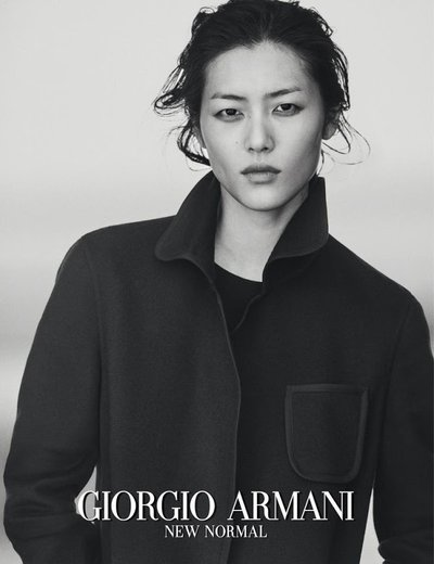 Liu Wen - Ph: Peter Lindbergh for Giorgio Armani Fall 2016