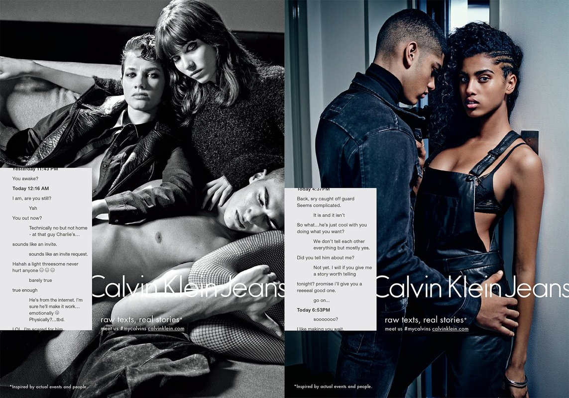 Calvin Klein Jeans swipes to the right