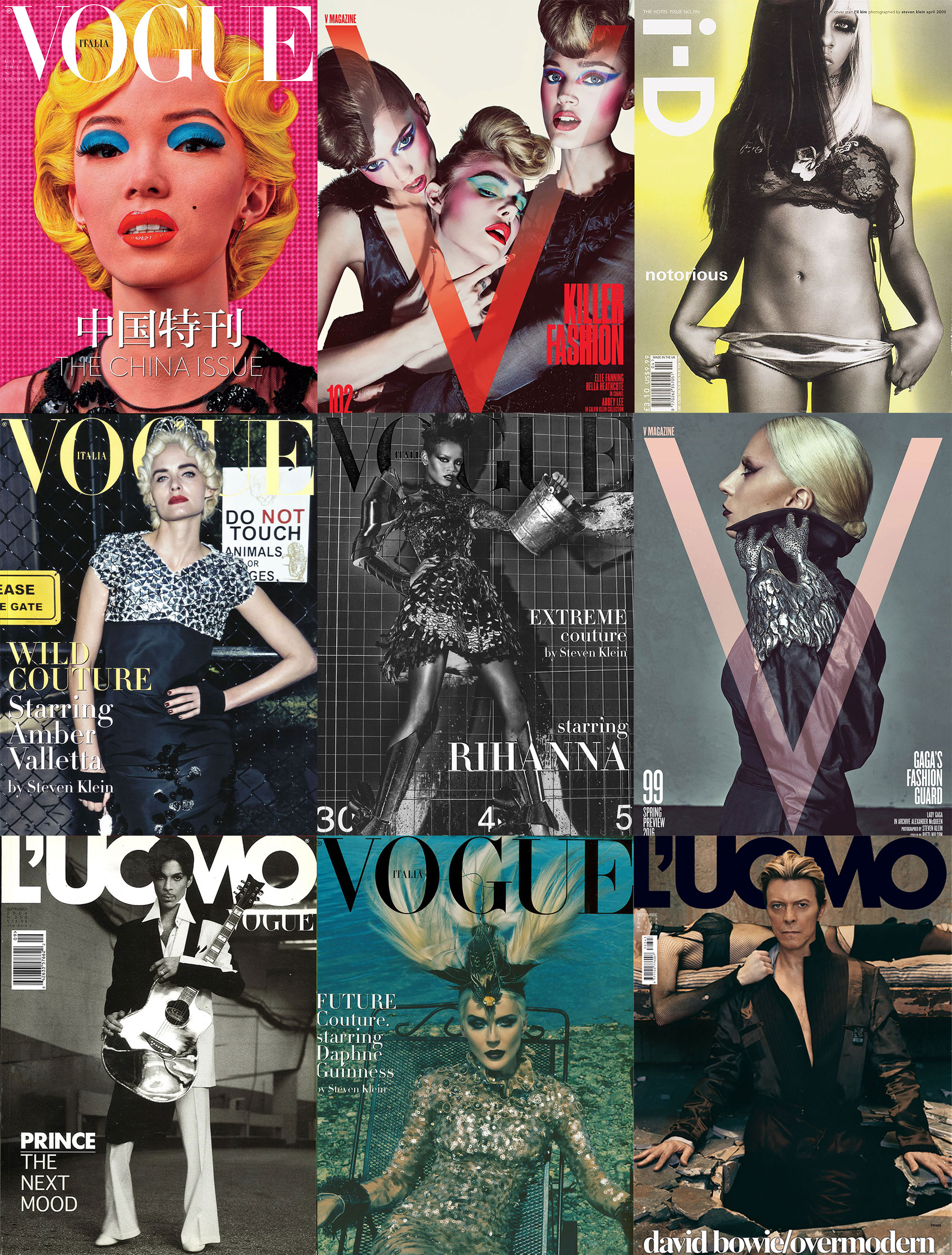 Covers styled by Patti Wilson over the years, from models.com