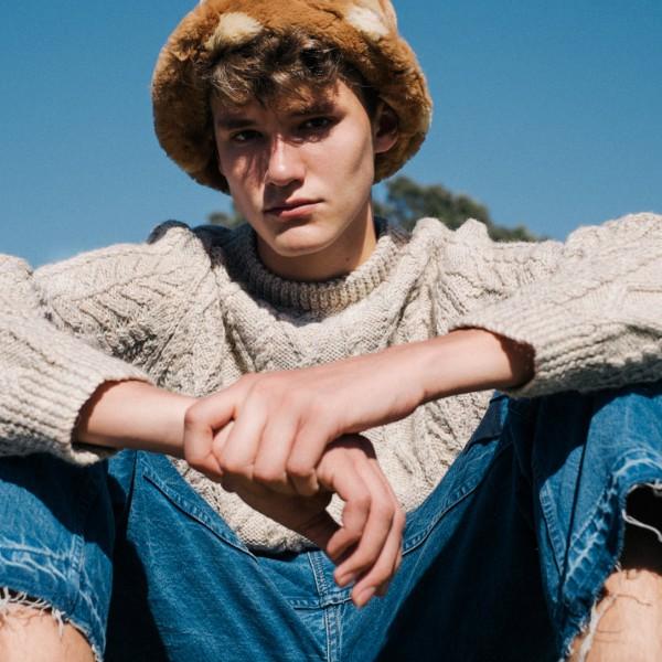 Vintage hat and jumper, jeans by OLDER BROTHER.