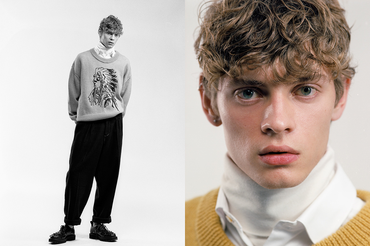 Giulio wears jumper and trousers by Andrea Pompilio, shirt by Brooksfield, turtleneck by Ermenegildo Zegna, shoes by No21.