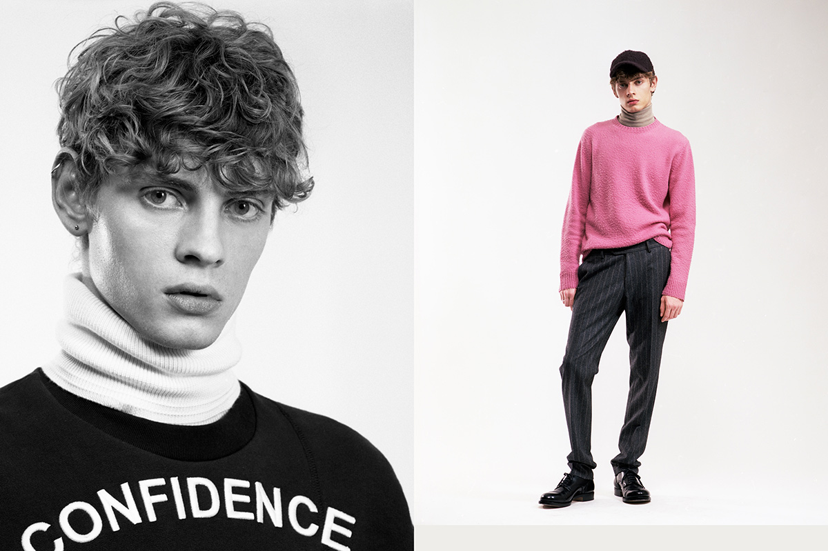 Giulio wears, on left, jumper by No21, turtleneck by Falconeri. On right, jumper by Santoni edited by Marco Zanini, turtleneck by Falconeri, trousers by Luigi Bianchi Mantova, hat by Ermenegildo Zegna Couture, shoes by Santoni.