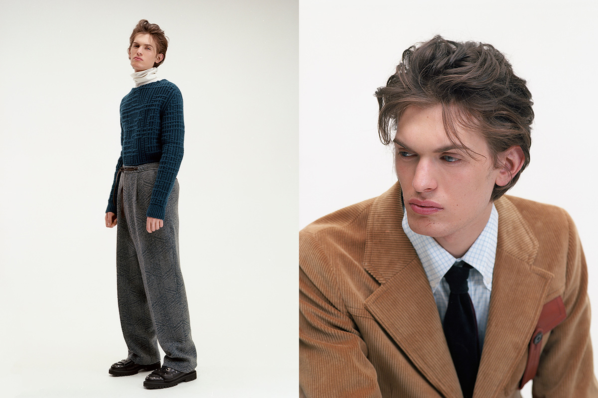 Lorenzo wears, on left, total look by Ermenegildo Zegna Couture, shoes by No21. On right, total look by Prada.