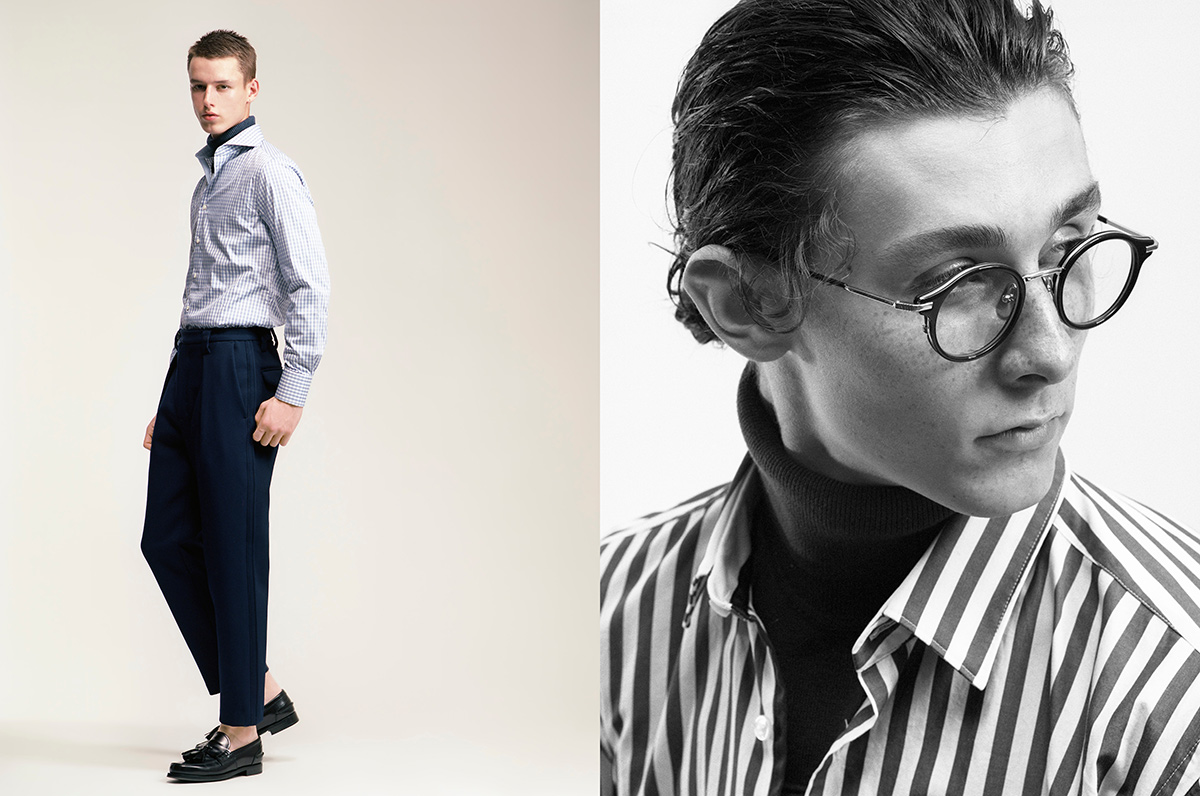 On left, Daniel wears shirt by Canali, turtleneck by Ballantyne, trousers by Acne Studios, shoes by Prada. On right, Riccardo wears shirt and turtleneck by Boss, glasses by Dita Thom Browne.