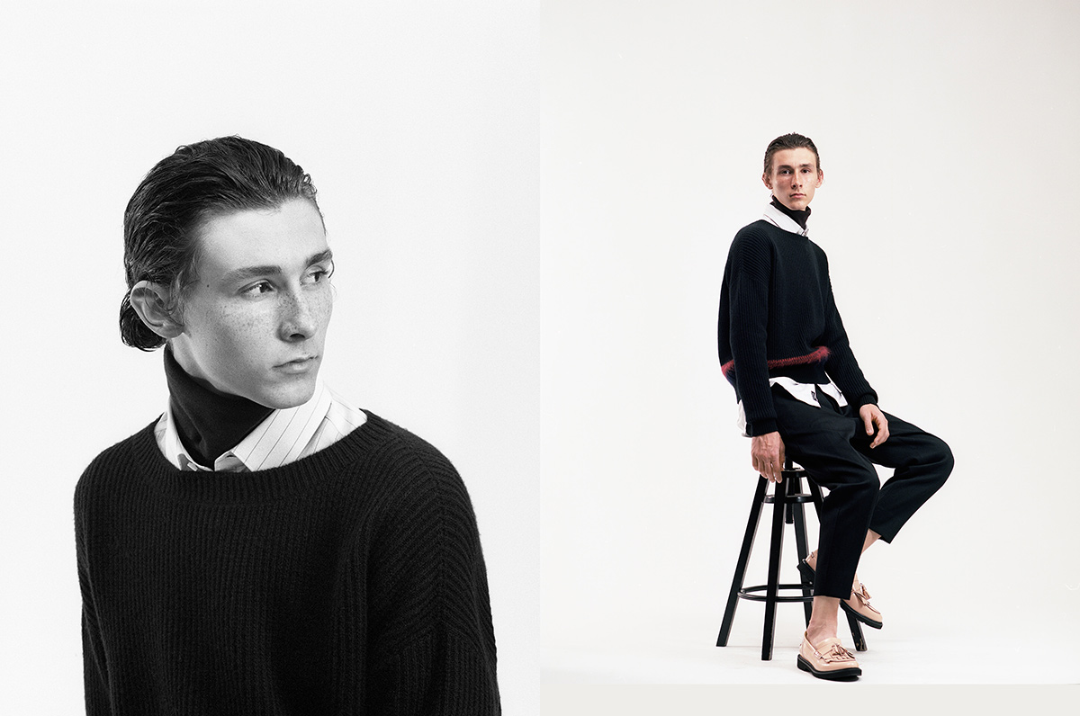 Riccardo wears jumper by No21, shirt by Boss, turtleneck by Ermenegildo Zegna, trousers by Marni, shoes by MSGM.