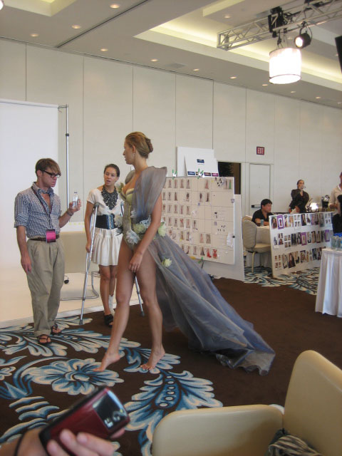 Karolina Kurkova with the costume designer Todd with VS stylist Charlotte Stockdale. (pic: Fred/Vivien)