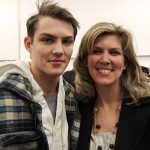 VMan/Ford winner Jake Madden backstage at Calvin Klein with his mom, Renee.