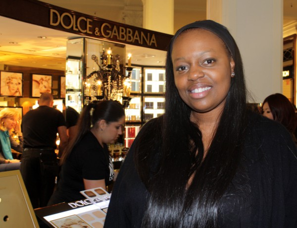 Pat is all smiles at the Dolce & Gabbana event