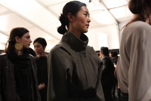 Liu Wen at Yigal Azrouel backstage