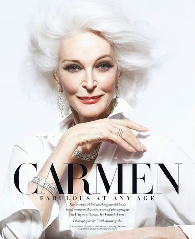Carmen Dell'Orefice - Ph: Natth Jaturapahu for Harper's Bazaar US April 2018