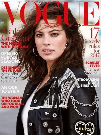 Ashley Graham - Ph: Patrick Demarchelier for British Vogue January 2017 Cover